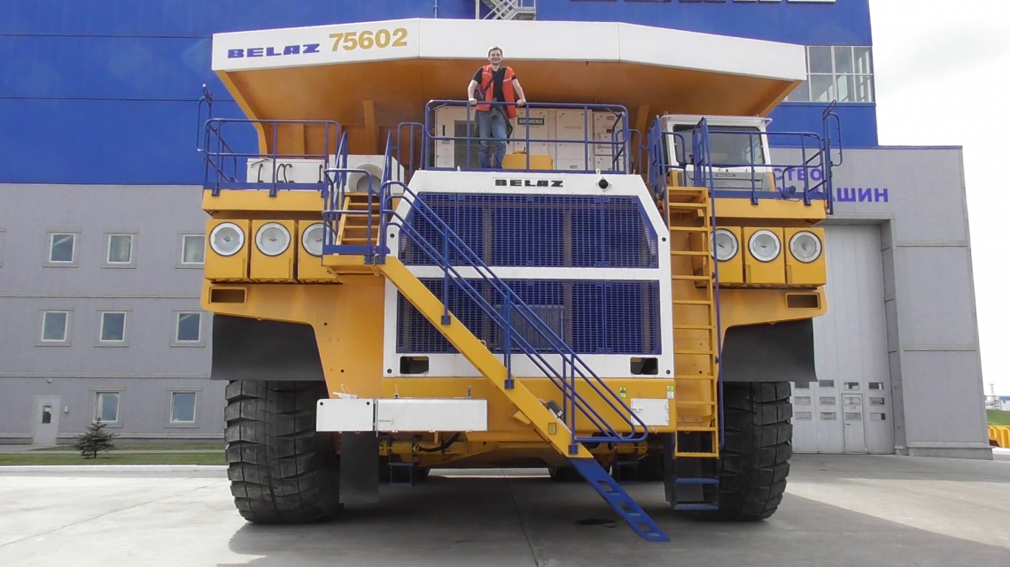 Man on Belaz truck